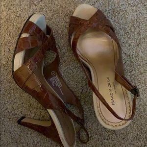 Brown faux croc print heels